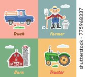 set of cartoon funny farm... | Shutterstock .eps vector #775968337