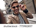 going crazy. self portrait of... | Shutterstock . vector #775982857