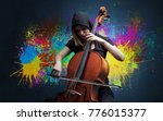 Small photo of Young classical musician with colorful splotch wallpaper