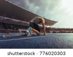 rear view of an athlete on his... | Shutterstock . vector #776020303
