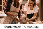 woman potter teaching the art... | Shutterstock . vector #776023333