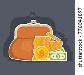 purse with cash. business and... | Shutterstock .eps vector #776041897