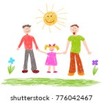 lgbt family. children's drawing.... | Shutterstock .eps vector #776042467