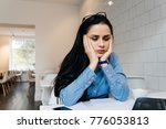 tired young business woman...   Shutterstock . vector #776053813