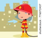cute little fire fighter in... | Shutterstock .eps vector #776072437