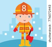 cute little fire fighter in... | Shutterstock .eps vector #776072443
