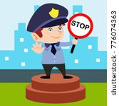 cute little police man in... | Shutterstock .eps vector #776074363