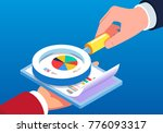 data files under the magnifying ... | Shutterstock .eps vector #776093317