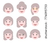old lady cartoon avatars.... | Shutterstock .eps vector #776095753