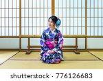 asian woman wearing japanese...   Shutterstock . vector #776126683
