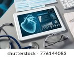 white tablet pc and doctor... | Shutterstock . vector #776144083