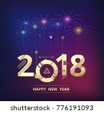 2018 happy new year background. ... | Shutterstock .eps vector #776191093
