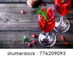 pomegranate champagne mimosa...   Shutterstock . vector #776209093