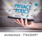 privacy policy. tablet computer ... | Shutterstock . vector #776220397