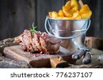 closeup of steak and chips with ... | Shutterstock . vector #776237107