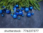 christmas tree and blue balls... | Shutterstock . vector #776237377