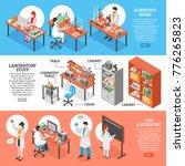 three scientists laboratory... | Shutterstock . vector #776265823