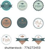 set of vector label with fish. | Shutterstock .eps vector #776272453