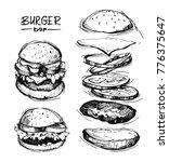set of burgers. hand drawn... | Shutterstock .eps vector #776375647