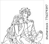 line art sketch of couple
