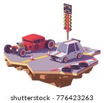 vector low poly drag race... | Shutterstock .eps vector #776423263