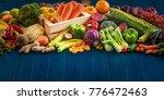 top view of fresh vegetables on ...   Shutterstock . vector #776472463