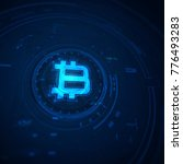 bitcoin sign in futuristic... | Shutterstock . vector #776493283