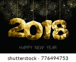 new year 2018 gold holiday... | Shutterstock .eps vector #776494753
