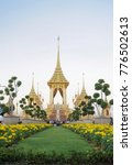 Small photo of Bangkok, Thailand - Dec 16, 2017 : The Royal Crematorium of King Bhumibol Adulyadej, King Rama9 of Thailand. Selective focus on the center crematory surround the base of Mount Sumeru. Editorial only