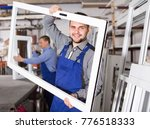 laughing production workers in... | Shutterstock . vector #776518333
