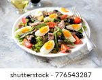 french salad nicoise with tuna  ... | Shutterstock . vector #776543287