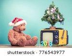 teddy bear toy with santa hat ... | Shutterstock . vector #776543977