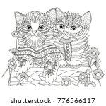 Stock vector two kittens in a basket with daisies hand drawn picture sketch for anti stress adult coloring 776566117