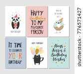 set of greeting cards with... | Shutterstock .eps vector #776571427