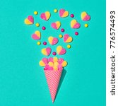 ice cream cone with gummy... | Shutterstock . vector #776574493