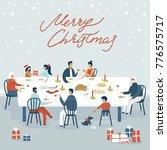 christmas card. vector cartoon... | Shutterstock .eps vector #776575717