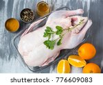 raw duck with spices  honey ...   Shutterstock . vector #776609083