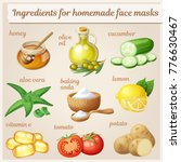 facial mask ingredients for... | Shutterstock .eps vector #776630467
