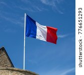 french flag waving in the wind   Shutterstock . vector #776651293