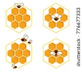 honeycomb and bee sketch icon... | Shutterstock .eps vector #776677333