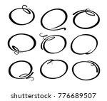 set of round frames hand drawn... | Shutterstock .eps vector #776689507