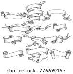 scroll sketch. vintage hand... | Shutterstock .eps vector #776690197