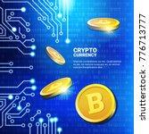 golden bitcoins over blue... | Shutterstock .eps vector #776713777