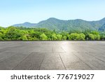 empty square floor and green... | Shutterstock . vector #776719027