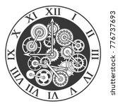 cartoon silhouette black clock...   Shutterstock .eps vector #776737693