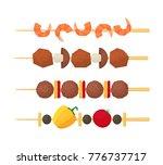 cartoon color kebab on wooden... | Shutterstock .eps vector #776737717