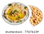 Hummus. Isolated - stock photo