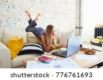 female freelancer in her casual ... | Shutterstock . vector #776761693