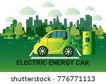 electric energy car charging at ... | Shutterstock .eps vector #776771113