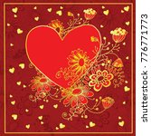 lovely vector template drawn by ... | Shutterstock .eps vector #776771773